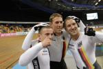 Track cyclists in lycra gear 31