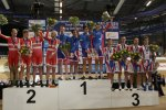 Track cyclists in lycra gear 34