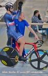Track cyclists in lycra gear 58