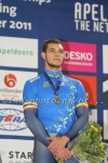 Track cyclists in lycra gear 73