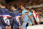 Track cyclists in lycra gear 76